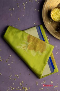 Classic lush green with azure blue Soft Silk saree