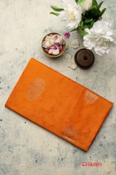 Dual Tone Orange Soft Silk Saree 1