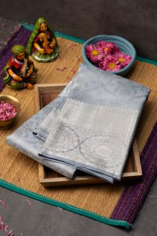 Sky grey silver zari Kanchipuram silk saree