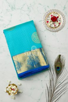 Aqua blue Kanchipuram silk saree