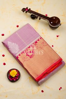 Onion pink Kanchipuram Silk Saree